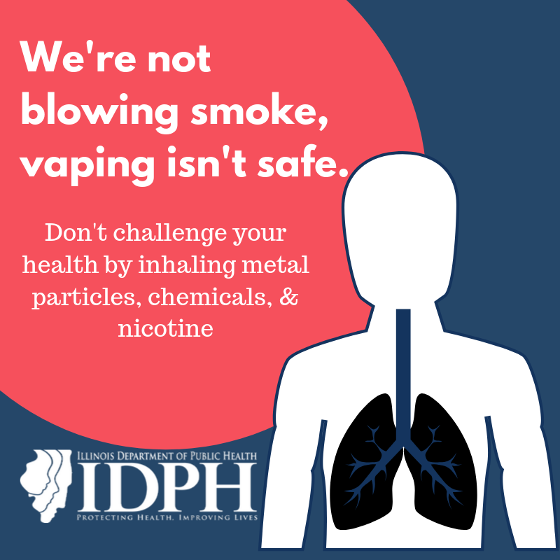We're not blowing smoke, vaping isn't safe. Don't challenge your health by inhaling metal particles, chemicals, & nicotine. Upper torso lungs highlighted