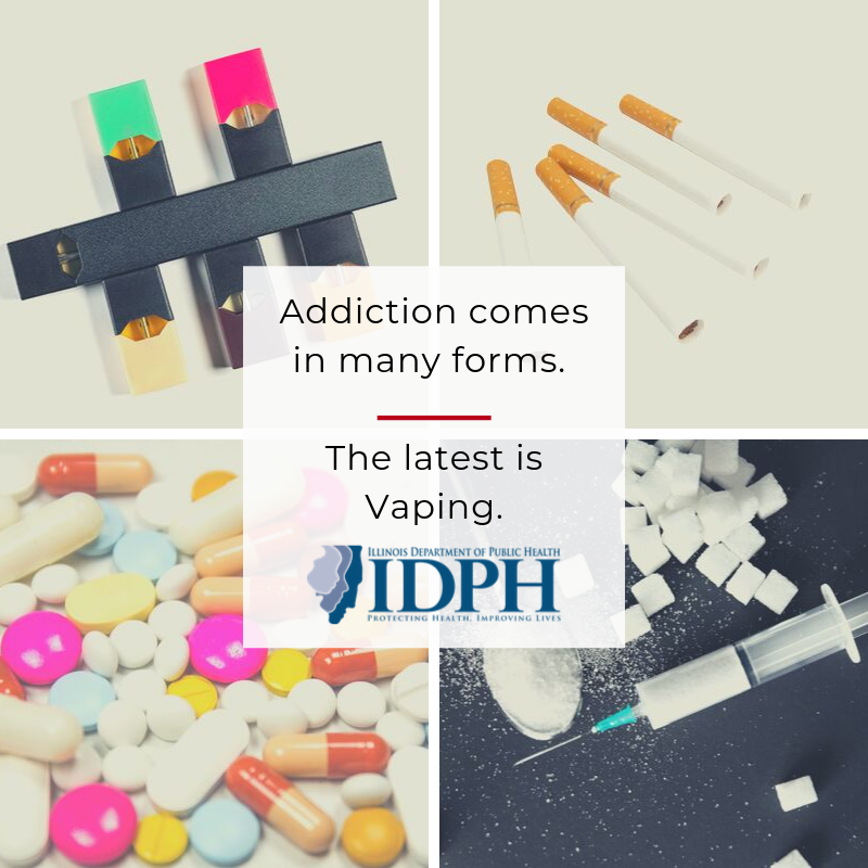 Addiction comes in many forms. The latest is vaping. JUUL pen, cigarettes, pills, cocaine