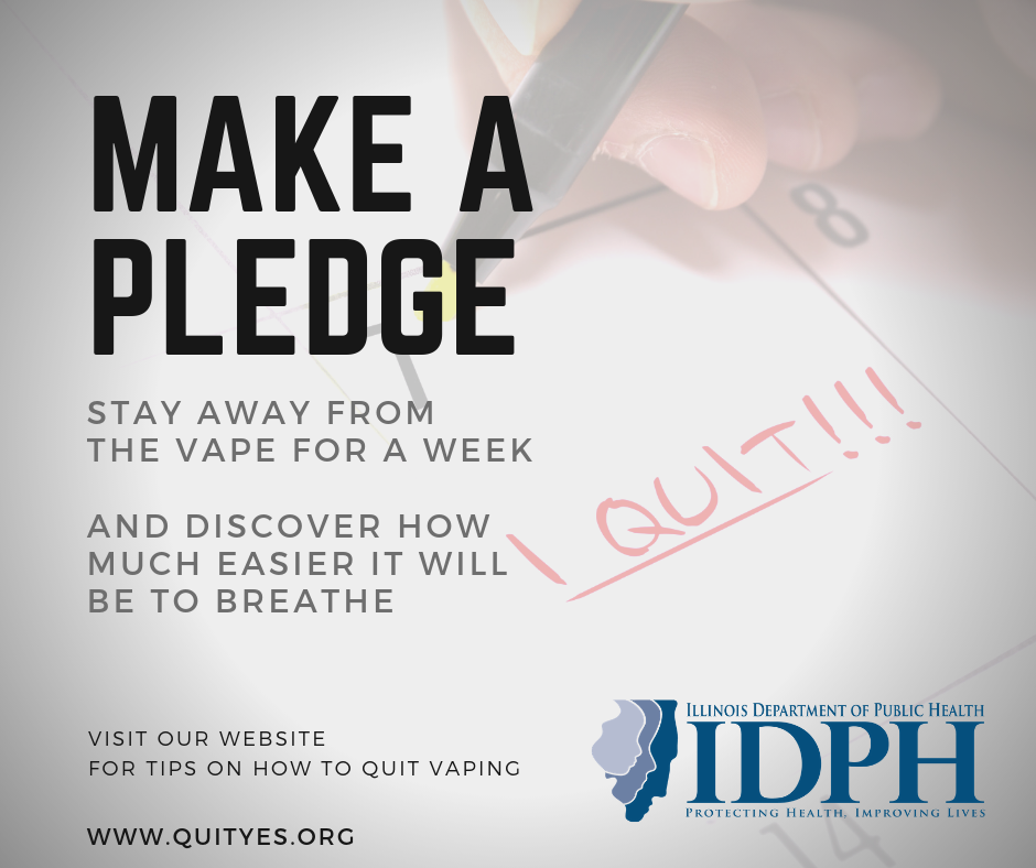 Make a pledge Stay away from the vape for a week And discover how much easier it will be to breathe Quityes.org