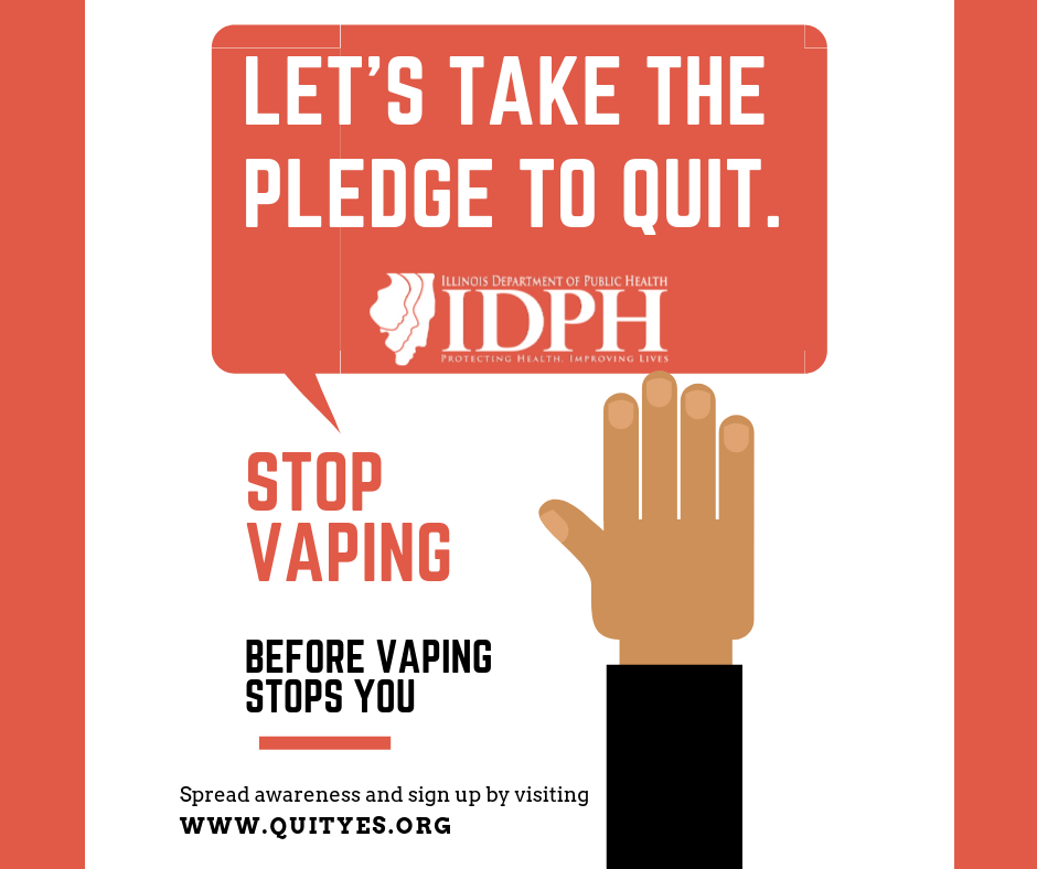 Let's take the pledge to quit. Stop vaping before vaping stops you. quityes.org Raised hand