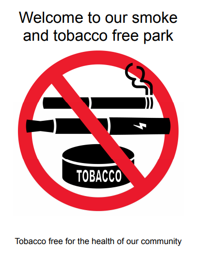 Welcome to our smoke and tobacco free park. Tobacco free for the health of our community. Cigarette, vape, smokeless tobacco canister labeled red NO symbol