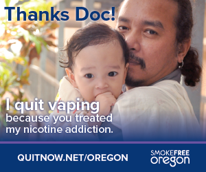Thanks Doc! I quit vaping because you treated my nicotine addiction. quitnow.net/oregon Man holding a baby