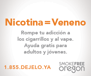 In Spanish Nicotine=Poison Break your addiction to cigarettes or vape. Free help for adults and youth. 1.855.DEJELO.YA