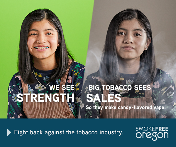 Smiling teenager with bright gree background: We see strength. 
