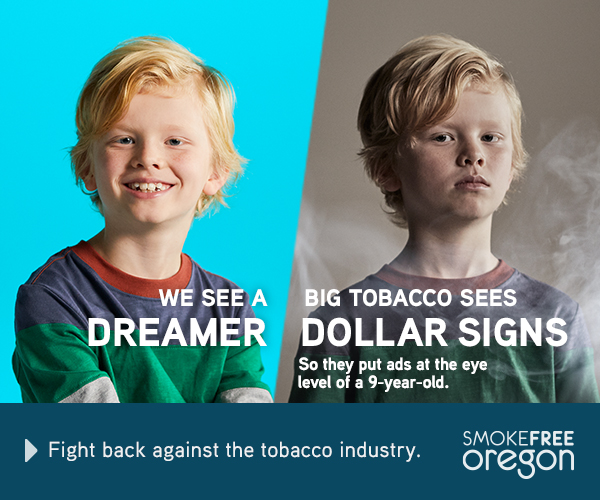 Teenager with bright blue background: We see dreamer. 