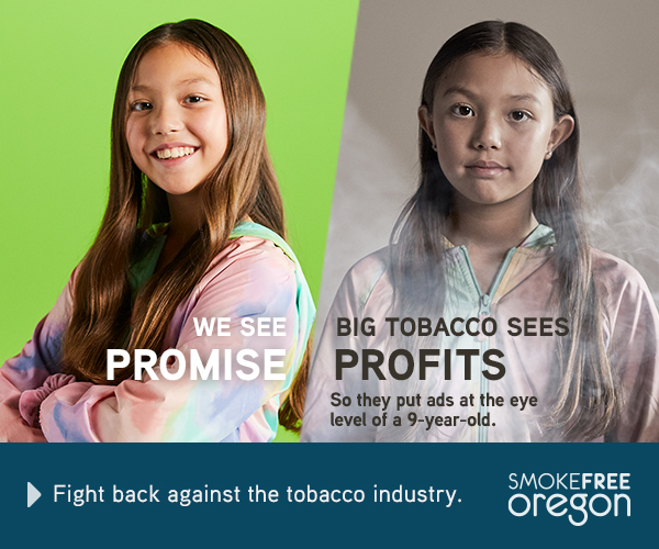 Teenager with bright green background: We see promise. 