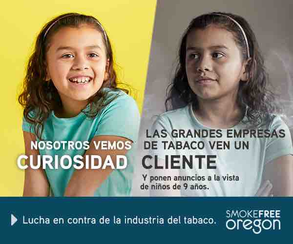 In Spanish. Child with bright background: We see curiosity. 