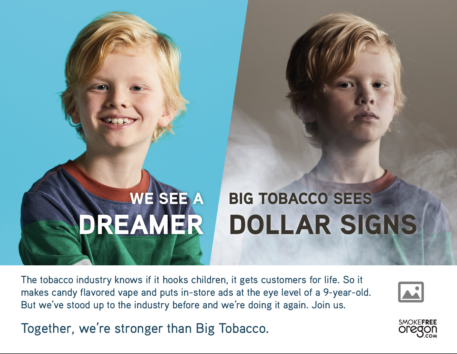 Child with bright blue background: We see a dreamer. 