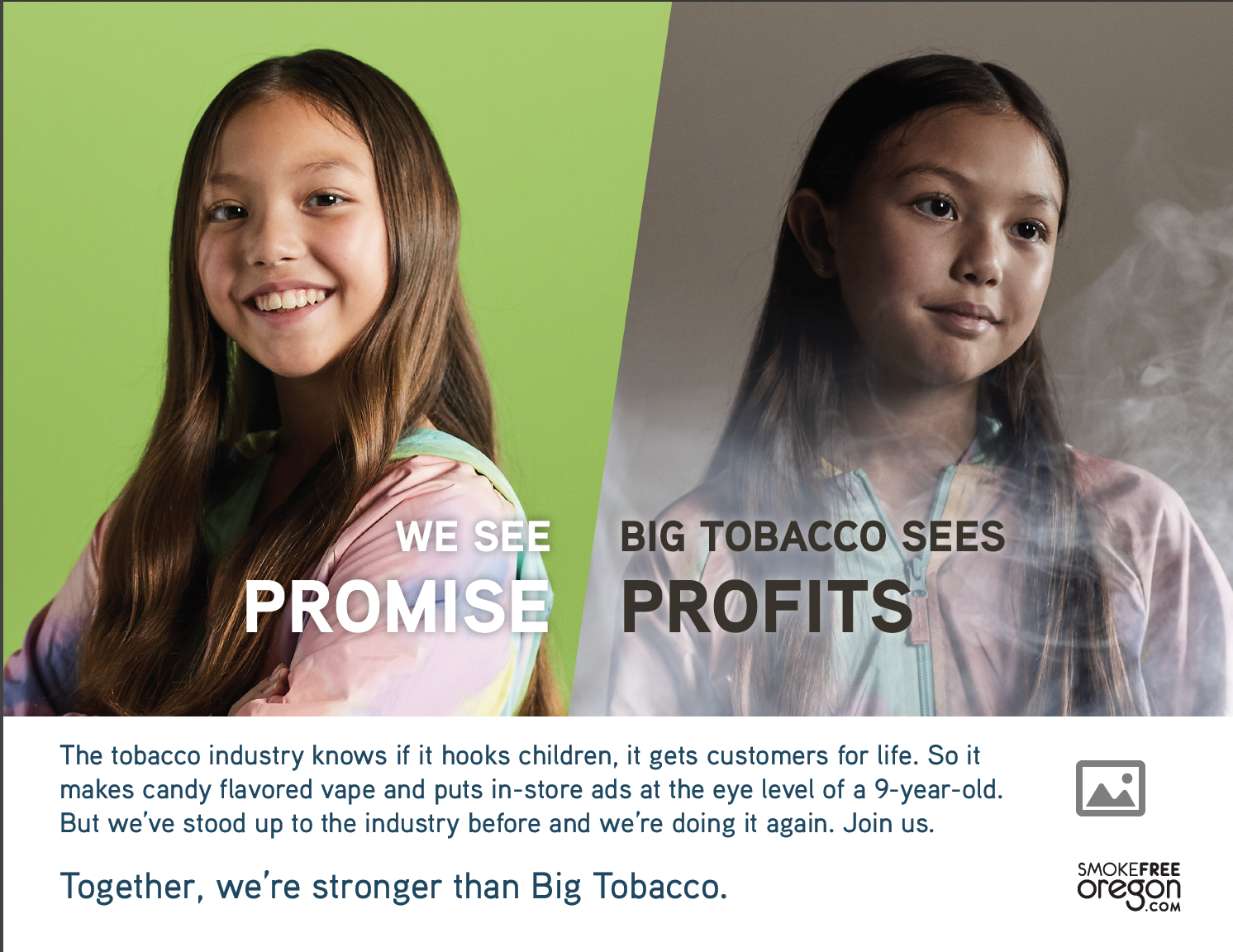 Child with bright green background: We see promise. 
