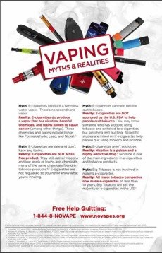 Vaping items in circle. Text in front. Vaping myths & realities. Free help quitting: 1-844-8-NOVAPE.