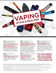 Vaping products in a circle. Text in front. Vaping myths & realities. For help quitting, call or go online: 1-844-8-NOVAPE