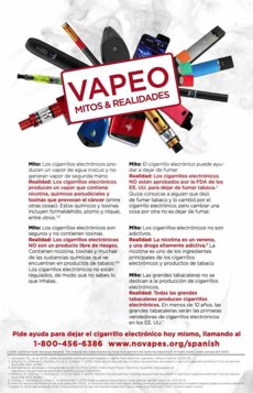 Vaping devices in a circle. Text in front, in Spanish. Vaping myths and realities. Quitline referral at the bottom.