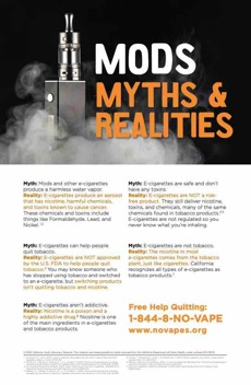 Black background. Vaping device surrounded by cloud of vape smoke. Large text. Mods myths & realities.