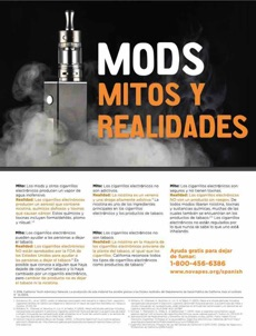 Black background. Vaping device surrounded by vape cloud. Large text. Mod myths and realities in Spanish.