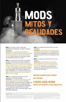 Black background. Vaping device surrounded by vape cloud. Large text. Mods myths and realities in Spanish.