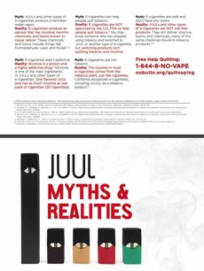White background. Juul products. Large text. Juul myths & realities. Free help quitting: 1-844-8-NO-VAPE