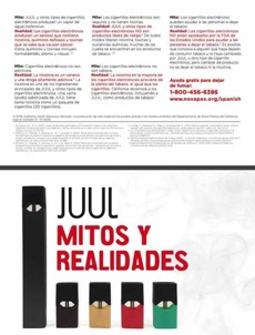 White background. Juul product. Large text, in Spanish. Juul myths and realities. Quitline referral.