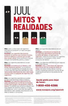 White background. Juul products. Large text in Spanish. Juul myths and realities. Quitline referral.