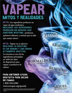 Black background. Gray smoke cloud with the names of chemicals written inside. Large text, in Spanish. Vaping myths & realities. Quitline referral at the bottom.