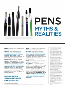 White background. Collection of vape pens. Large text. Pens myths & realities. Quitline referral on back side of the card.