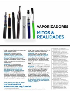White background. Collection of vape pens. Large text, in Spanish. Vape pens myths & realities. Quitline referral at bottom.