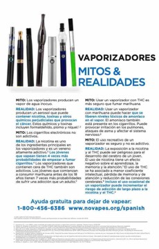 White background. Collection of vape pens. Large text, in Spanish. Vape pens myths & realities. Quitline referral at the bottom.