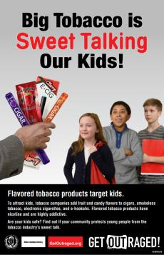 Big Tobacco is sweet talking our kids! Flavored tobacco products target kids. Outstretched hands flavored products to group of three children.