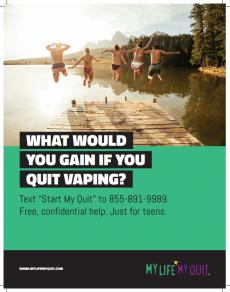 "Teens jumping into lake. What would you gain if you quit vaping? Text ""Start My Quit"" to 855-891-9989 for free, confidential help just for teens."