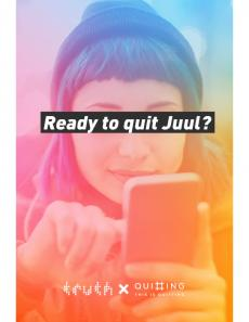 Teenager typing on phone in background of text: Ready to quit Juul?