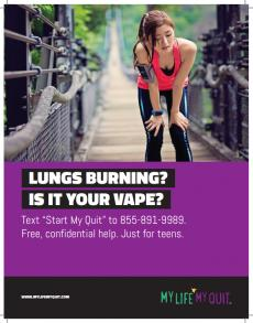Lungs burning? Is it your vape? Text start my quit to 855-891-9989 for free, confidential help for teens. Teen takes a break from jogging