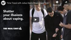 Shatter your illusions about vaping. Magician Julius Dein is surrounded by three teens while he holds a vape pen preparing to do a magic trick