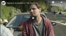 Vaping is an Epidemic | The Real Cost. Teen leans on a car hood while hanging out with friends. Vein-like paths swell on his face to show chemicals coursing through his body