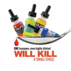 One teaspoon, even highly diluted will a small child. One and will kill are highlighted. Teaspoon with vials of e-liquid