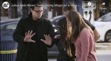 Julius Dein Wows Teens Doing Magic on a Vape, two teens look on as magician performs a trick
