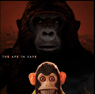 the ape in vape, over collage of toy monkey in the foreground and gorilla in the background