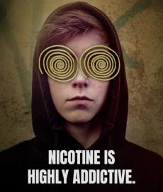 Nicotine is highly addictive. Hooded teen with cartoon hypnotized eyes