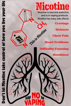 Nicotine is bad and addictive and is in vaping products. Nicotine has many side effects: cravings, sickness, chest pain, heart problems, difficulty focusing, moodiness. Don't let nicotine take control of how you live your life. Say no to vaping. Nicotine chemical structure with e-cigarettes. Lungs with nicotine chemical structures inside