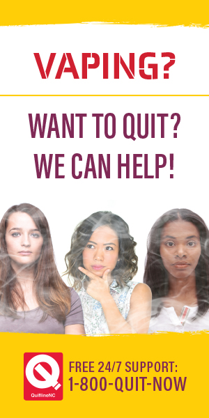 Vaping? Want to quit? We can help! Free 24/7 Support 1-800-QUIT-NOW. Three young women with smoke-covered faces