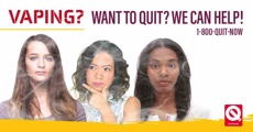 Vaping? Want to quit? We can help! 1-800-QUIT-NOW. Three young women with smoke-covered faces