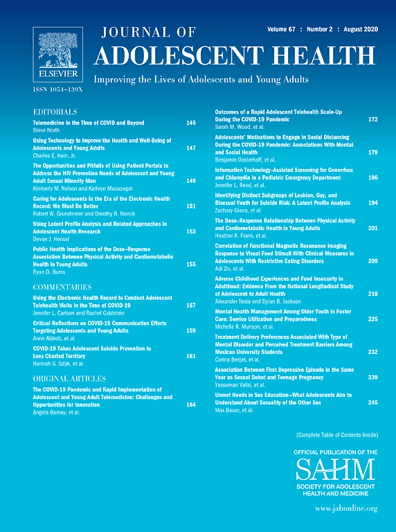 Journal of Adolescent Health Table of Contents