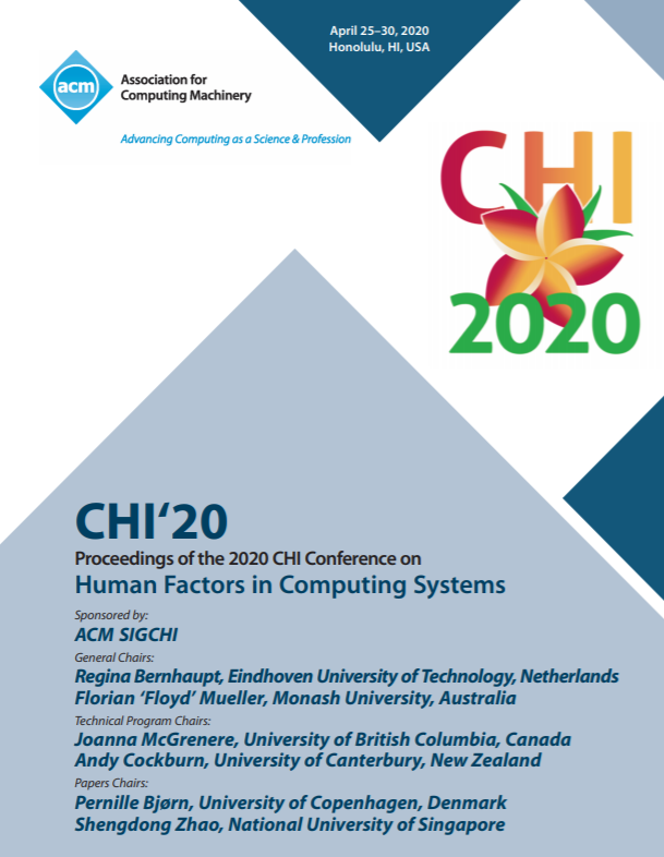 Coverpage CHI'20 Proceedings of the 2020 CHI Conference on Human Factors in Computing Systems