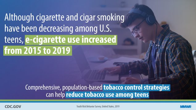 E-cigarette use increased from 2015-2019. Tobacco control strategies reduce tobacco use among teens.Teenager with headphones